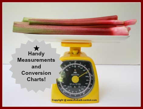 Handy Measurements and Conversion Charts and Rhubarb Equivalents