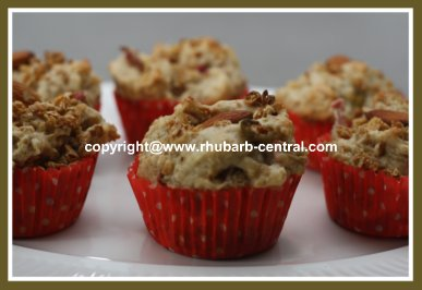Nutritious Muffins with Granola and Rhubarb OR Apples