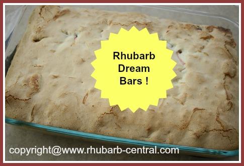 Rhubarb Dream Bars Recipe in a 9