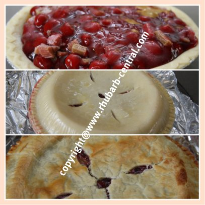 Collage Showing How to Make a Rhubarb Cherry Pie Recipe