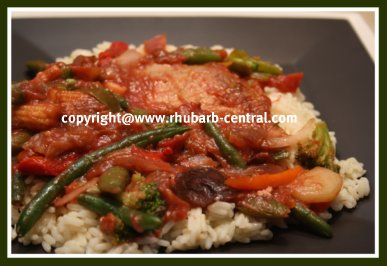 Rhubarb Stir Fry and Pork Supper