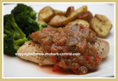 Rhubarb Supper Topping made with Rhubarb as a Relish Topping for Chicken
