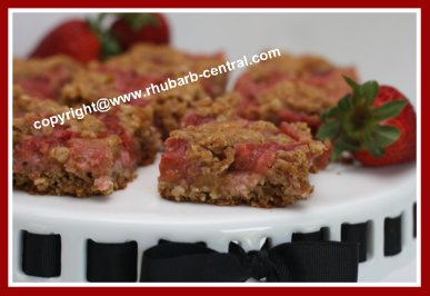 Rhubarb and Strawberry Squares / Bars Recipe