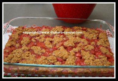 Strawberry Rhubarb Bars Recipe in a 9