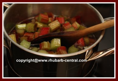 Strawberry Rhubarb Sauce Making