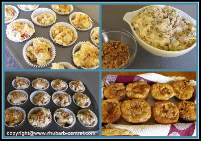 Collage of Pictures of Making Rhubarb Muffins