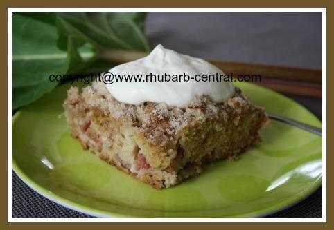 Homemade Rhubarb Cake with Nuts