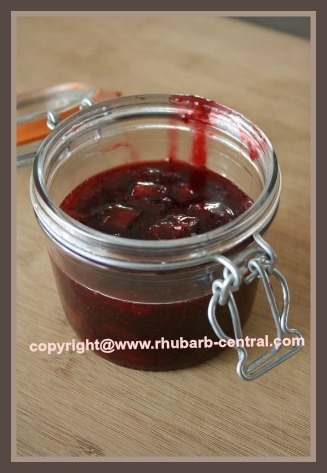 Homemade Rhubarb Raspberry Jam using Jello and Raspberry Pie Filling