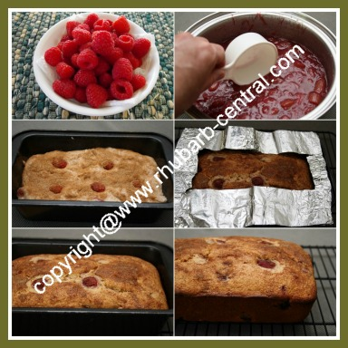 Collage of Pictures How to Make Rhubarb Raspberry Bread