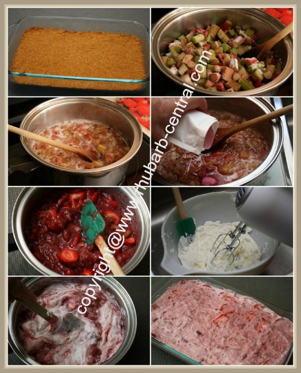 Collage images How to Make a Rhubarb Strawberry Dessert
