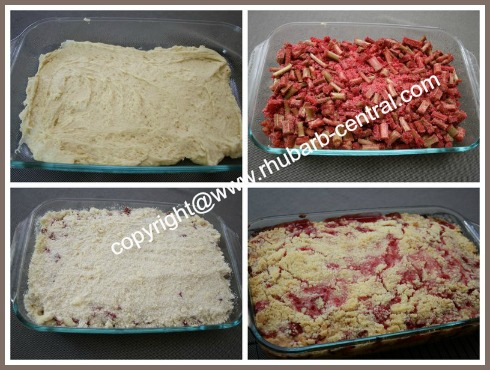Collage Picture Of How to Make a Rhubarb Strawberry Cake Recipe, Coffee Cake or Tea Cake
