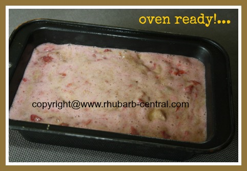 Making Strawberry Rhubarb Quickbread