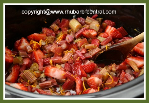 Making Strawberry Rhubarb Crockpot Sauce