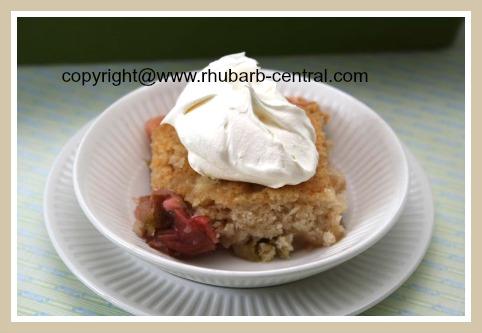 EASY Rhubarb Dessert Pudding Cake Recipe