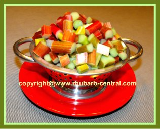 Pie Plant / Rhubarb cut up for eating - Nutritional Value
