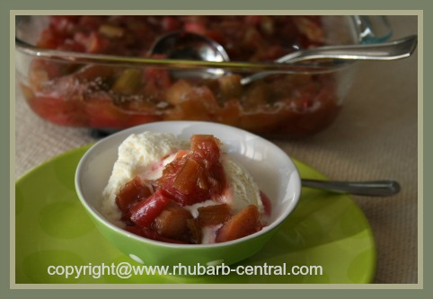 Rhubarb Sauce on Ice Cream - Made in Oven on Ice Cream
