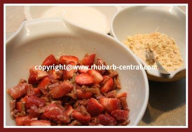 Making a Strawberry Rhubarb Crumble Recipe