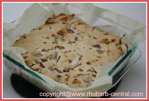 Homemade Rhubarb Dessert Bars in a 8
