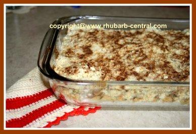 Rhubarb Coffee Cake in a 9