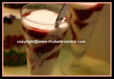 Rhubarb and Yogurt Dessert or Snack Parfait Recipe