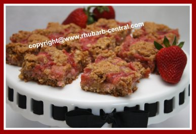Squares made with Rhubarb and Strawberries for Snack or Dessert
