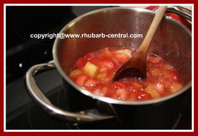 Making Rhubarb Bars - Filling for Bars