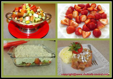 Making a Homemade Rhubarb Strawberry Cobbler Dessert