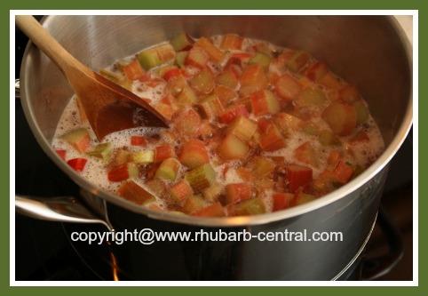 Cooking Rhubarb for Making Rhubarb Jam