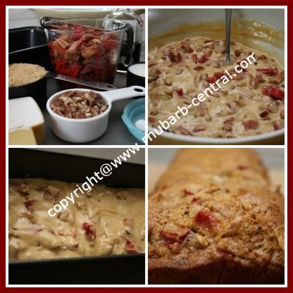 Picture Collage Making a Rhubarb Loaf Bread