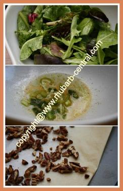 Making a Green Leafy Salad with Rhubarb