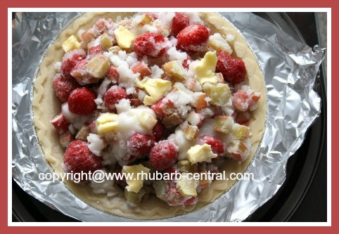 Making Rhubarb Pie using Frozen Rhubarb and Fresh or Frozen Strawberries
