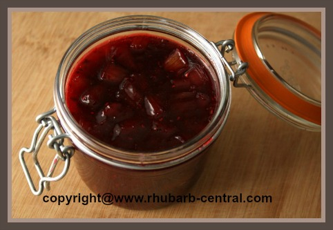 Raspberry Rhubarb Jam with Jello / Gelatin and Raspberry Pie Filling