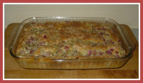 Rhubarb Custard Cake in 9x13 Inch Baking Dish Moist Rhubarb Box Cake