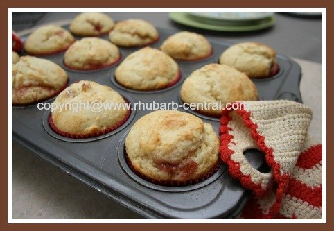 Rhubarb Muffins with Jam Centers