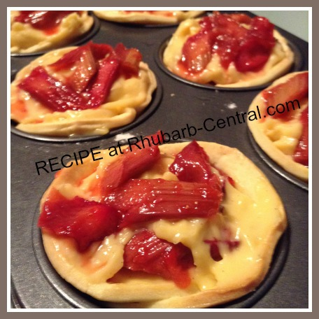 Rhubarb Tartlets Recipe with Italian Custard and Strawberry Grenadine