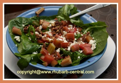 Roasted Rhubarb Salad with Mixed Greens